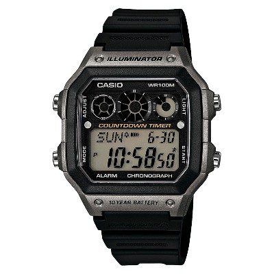Men's Casio Classic Digital Watch with Gray Accents - Black (AE1300WH-8AVCF)