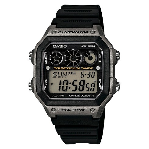 Men's Casio Classic Digital Watch with Gray Accents - Black (AE1300WH-8AVCF) - image 1 of 1