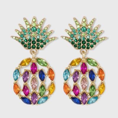 SUGARFIX by BaubleBar Crystal Pineapple Drop Earrings