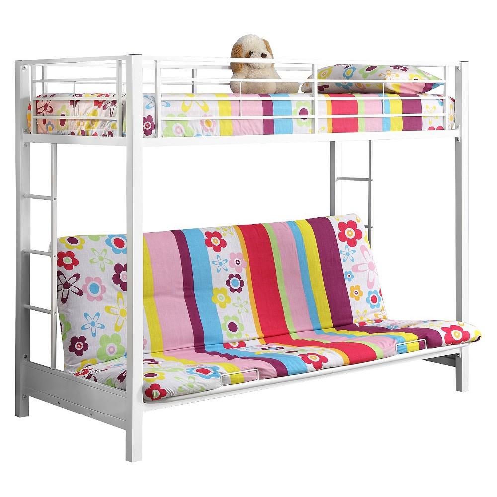 Premium Metal Twin over Futon Bunk Bed - White - Saracina Home