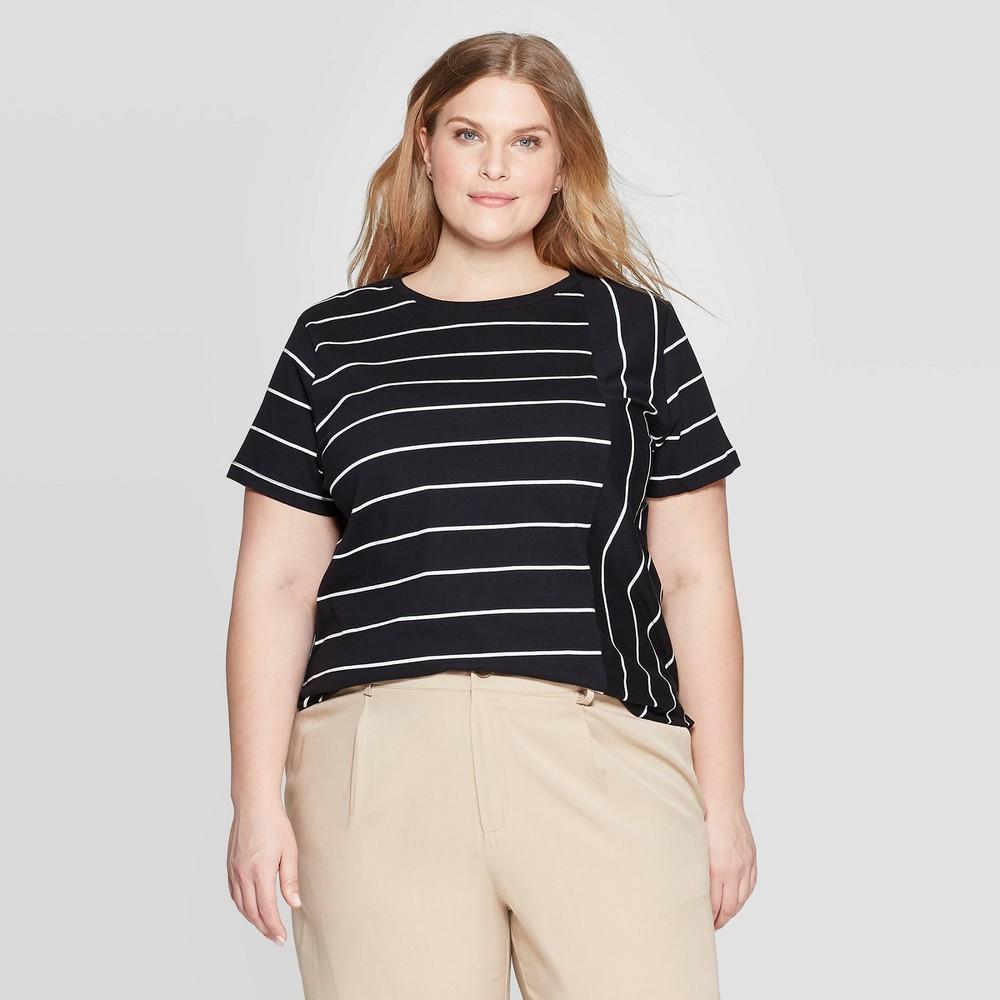 Women's Plus Size Striped Short Sleeve Crewneck T-Shirt - Ava & Viv Black/White 1X