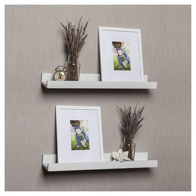 Set of 2 Ledge shelves with 2 Photo Frames - White