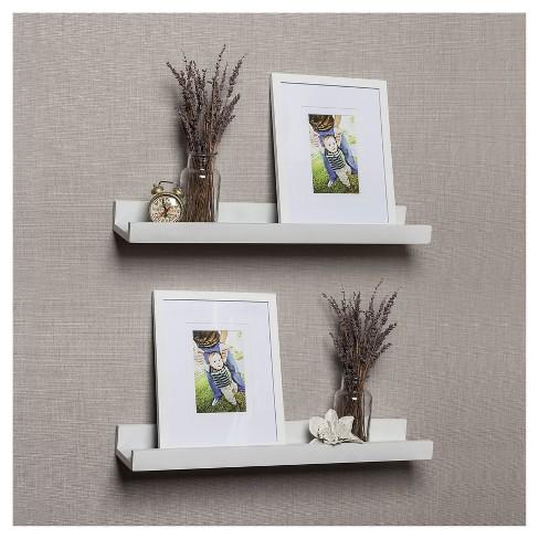 Set Of 2 Ledge Shelves With 2 Photo Frames White Target
