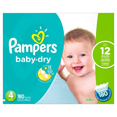 Pampers Baby Dry Diapers Economy Plus Pack Size 4 (180 ct)