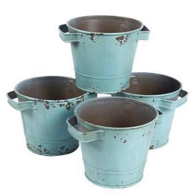 Juvale 4-Piece Turquoise Vintage Decorative Galvanized Metal Bucket Set, Garden Decorations 4.7 x 3.7 in