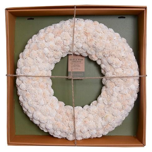 "Dried Shola Kadam Wreath (21.25"") - Cream - Smith & Hawken™ - image 1 of 3"