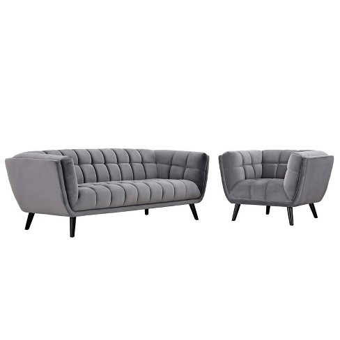 2pc Bestow Velvet Sofa and Armchair Set - Modway - image 1 of 4