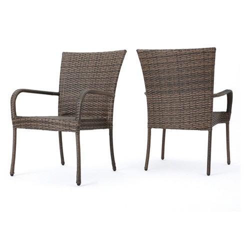 Littleton Set of 2 Wicker Stackable Club Chairs - Mixed Mocha - Christopher Knight Home - image 1 of 4