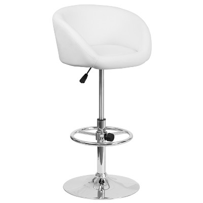 Flash Furniture Contemporary Adjustable Height Barstool with Barrel Back and Chrome Base