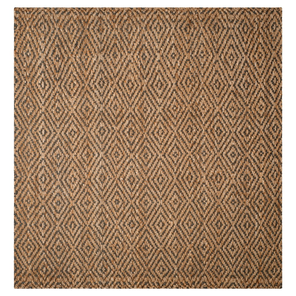 Natural/Gray Abstract Hooked Square Area Rug - (7'X7') - Safavieh