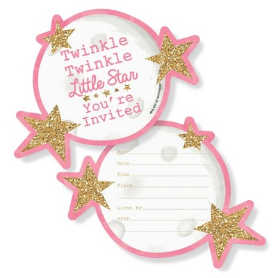 Big Dot of Happiness Pink Twinkle Twinkle Little Star - Shaped Invitations - Baby Shower or Birthday Party Invitation Cards with Envelopes - Set of 12