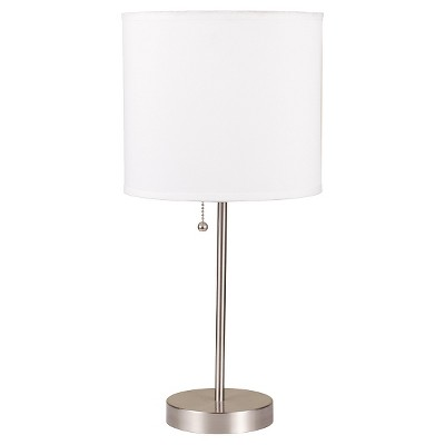 """19.5"""" Modern Metal Table Lamp with Cylindrical Shade White - Ore International"""