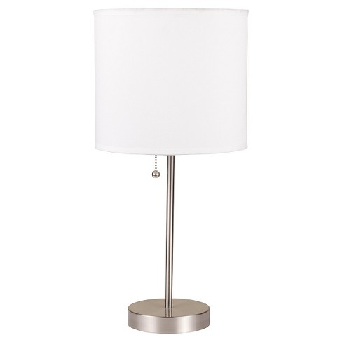 """19.5"""" Modern Metal Table Lamp with Cylindrical Shade White - Ore International - image 1 of 3"""