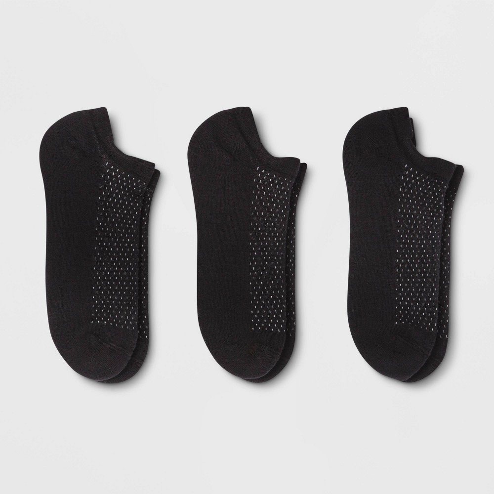 Women's Cushion Low Cut 3pk Socks - A New Day Black One Size