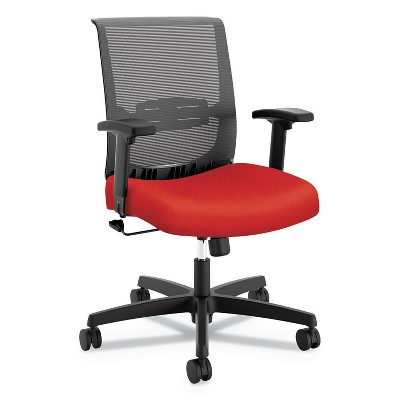 HON® Mid-Back Task Chair with Swivel-Tilt Control  Supports up to 275 lbs.  Red Seat  Black Back