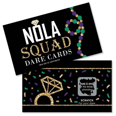 Big Dot of Happiness Nola Bride Squad - New Orleans Bachelorette Party Game Scratch Off Dare Cards - 22 Count