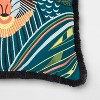 Embroidered Baboon With Fringe Square Throw Pillow Teal - Opalhouse™ - image 3 of 3