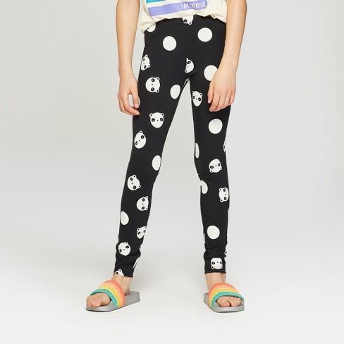 Girls' Panda Print Leggings - Cat & Jack™ Black/White M - image 1 of 3