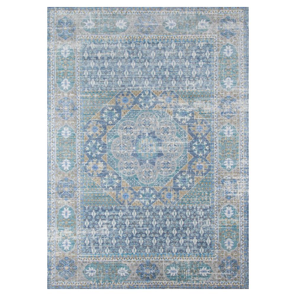 Blue Medallion Loomed Area Rug 9'x12' - Momeni