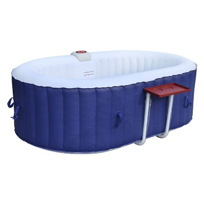 Aleko 145 Gallon Water Capacity PureSpa 2 Person Square Inflatable High Powered Bubble Jetted Hot Tub with Fitted Cover, Dark Blue