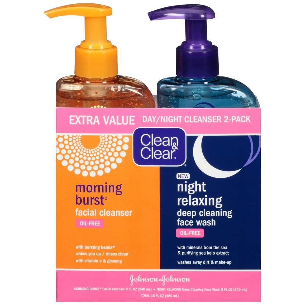 Image of Clean & Clear Day & Night Face Wash, Oil-Free & Hypoallergenic - 16oz - 2pk