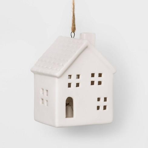 Lit Up House Ceramic Christmas Ornament White - Wondershop™ - image 1 of 2