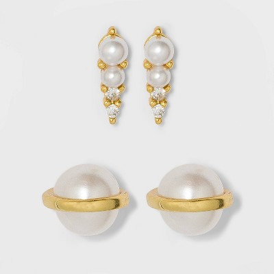 Sterling Silver Freshwater Pearl Earring Set 2pc - A New Day™ Gold