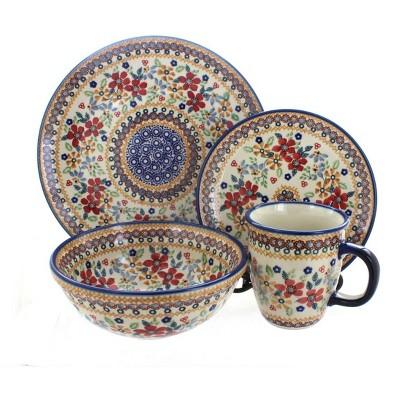 Blue Rose Polish Pottery Red Daisy 16 Piece Dinner Set