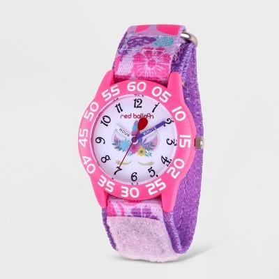 Girls' Red Balloon Unicorn Plastic Time Teacher Watch - Purple