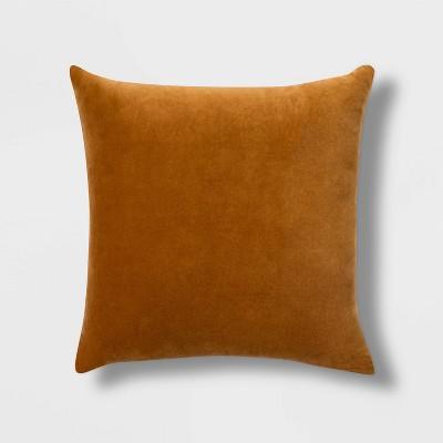 Velvet Square Pillow with Linen Reverse Zipper Closure Orange - Threshold™