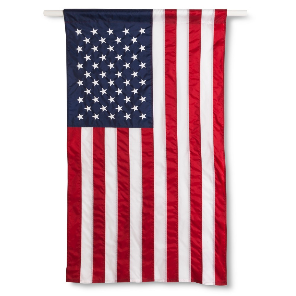 Image of Annin Embroidered American Flag Banner - 2.5' x 4'