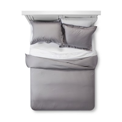 Gray Damask Stripe Duvet Cover Set (King)- Fieldcrest®