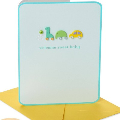 Wooden Block Icons ' Welcome Baby' Card - PAPYRUS