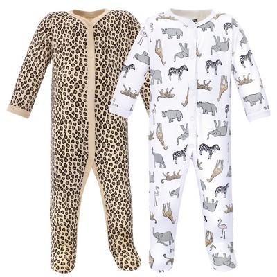 Hudson Baby Infant Girl Cotton Snap Sleep and Play 2pk, Modern Pink Safari