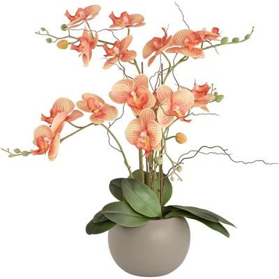 "Studio 55D Orange Orchid 22 1/2"" High Faux Floral in Gray Pot"