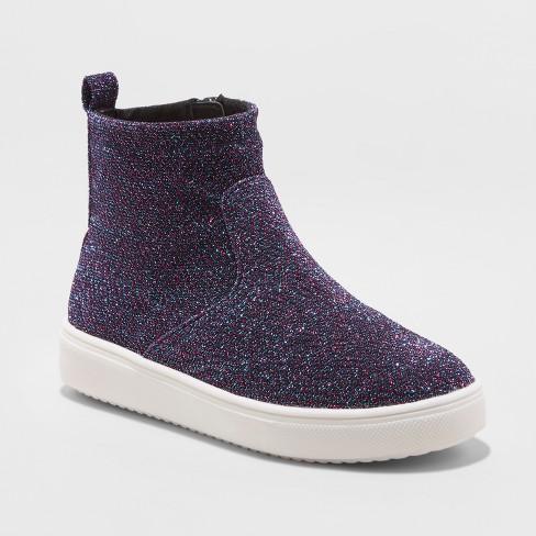 Girls' Annora Sock Top Metallic Sneakers - Cat & Jack™ Blue 4 - image 1 of 3