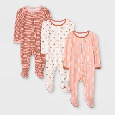 Baby Girls' 3pk Earth & Sky Sleep N' Play - Cloud Island™ Pink 0-3M