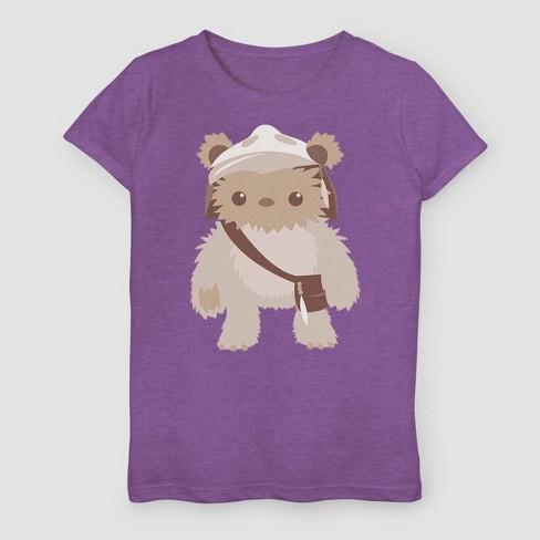 Girls' Star Wars A New Hope Cute Ewok T-Shirt - Purple - image 1 of 2