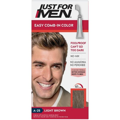 Just For Men Easy CombIn Color Gray Hair Coloring for Men with Comb Applicator - 1.2oz - Light Brown A25