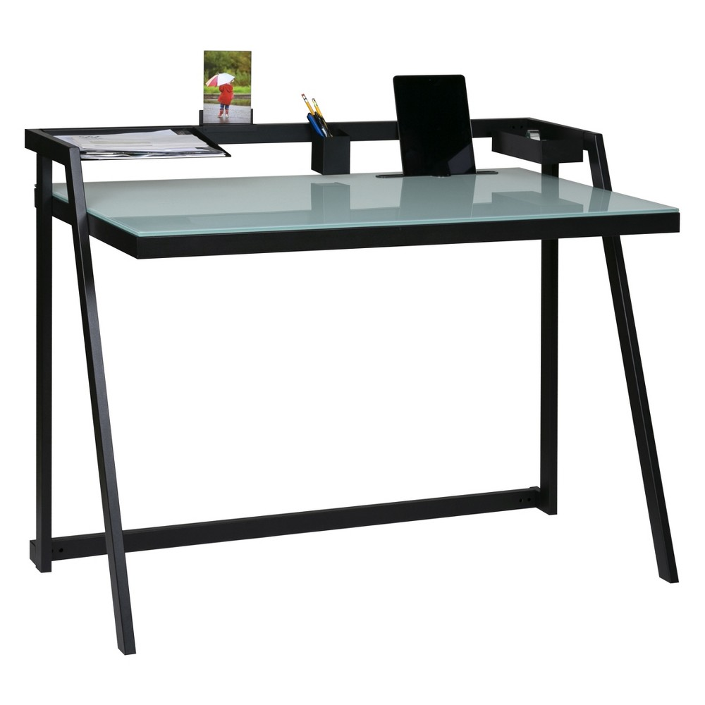 Image of Tablet Desk Glass Desktop With Metal Frame Black - OneSpace