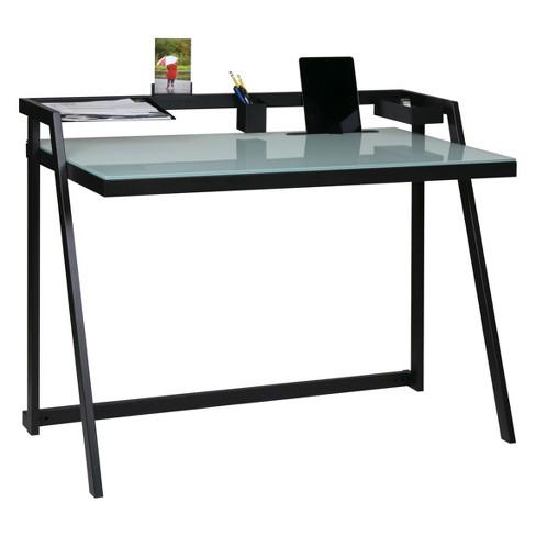 Tablet Desk Glass Desktop With Metal Frame Black - OneSpace - image 1 of 4