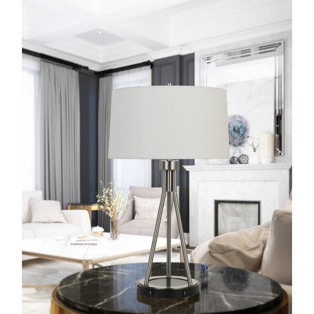 Image of 150W 3 Way Halle Metal Table Lamp Brushed Steel/Black - Cal Lighting