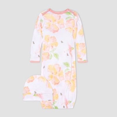 Burt's Bees Baby® Baby Girls' Sunburst Floral Nightgown with Cap - Pink
