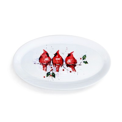 DEMDACO Three Round Cardinals Holiday Platter