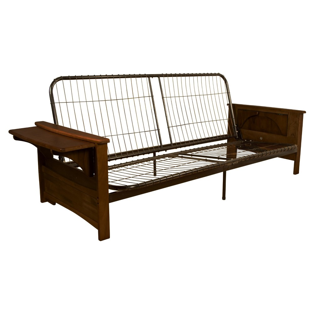 Brooklyn Futon Sofa Sleeper Bed Frame - Epic Furnishings, Toasted Walnut Wood Arms