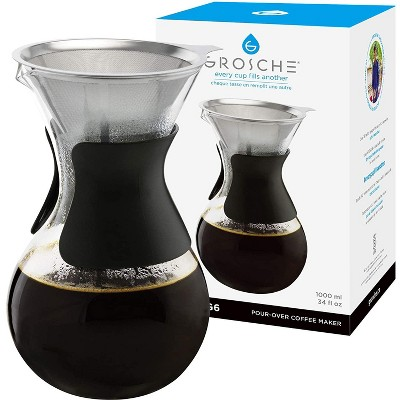 GROSCHE AUSTIN G6 Pour Over Coffee Maker with Double Layer Permanent Stainless Steel Coffee Filter, 34 fl oz. Capacity
