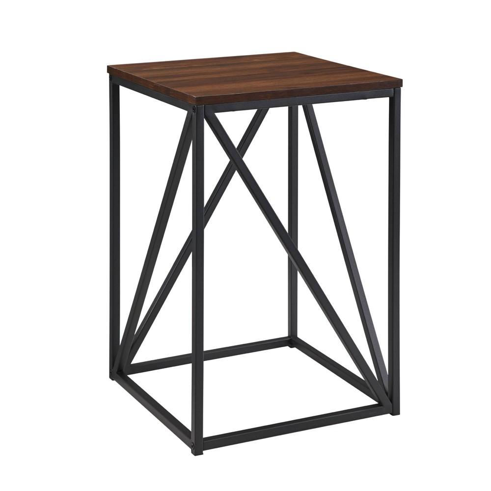 "Image of ""16"""" Modern Geometric Square Side Table Dark Walnut - Saracina Home"""