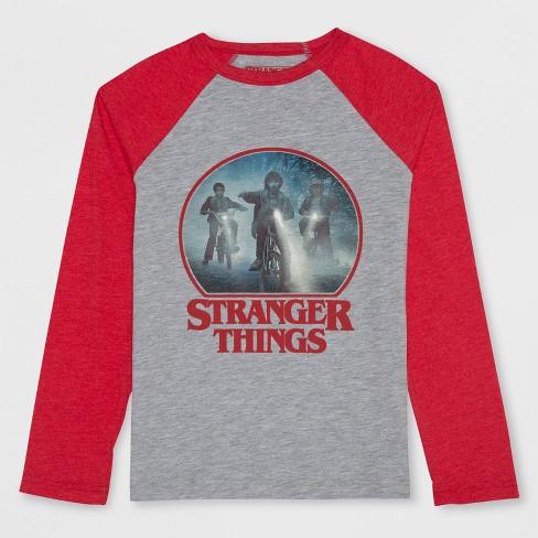 Boys' Stranger Things Bikes Long Sleeve Raglan T-Shirt - Heather Gray XL - image 1 of 2