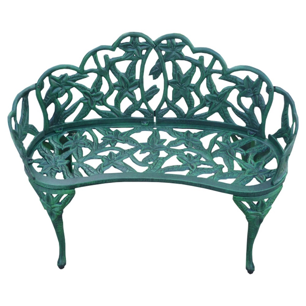 Image of Lily Garden Cast Aluminum Patio Bench