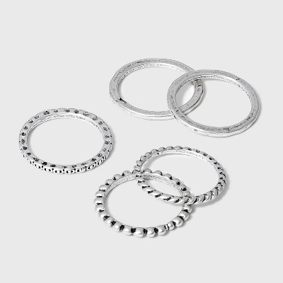 Mixed Texture Ring Set 5pc - Universal Thread™ Silver